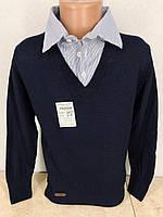 Рубашка обманка школьная для мальчиков 6,8,12,16 лет. Турция. Кофта с воротником в школу. Темно-синий