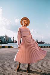 """Очень красивый вязаный костюм : юбка плиссе и объемный свитер """" Джули """", в расцветках"""