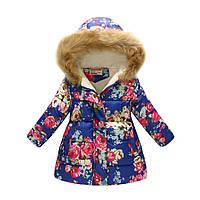 Удлиненная демисезонная куртка для девочки Розовые розы Jomake
