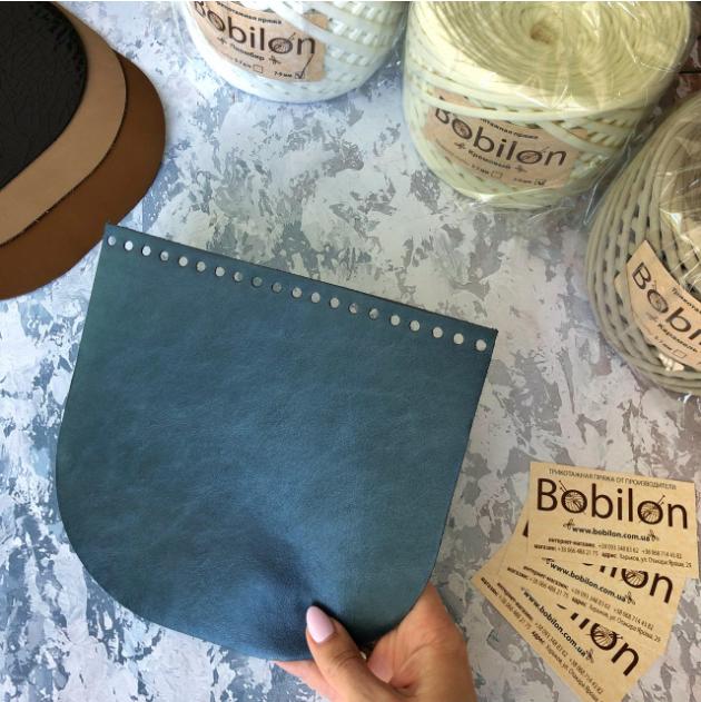 Крышки для вязаной сумки или рюкзака из эко кожи. Цвет — синий