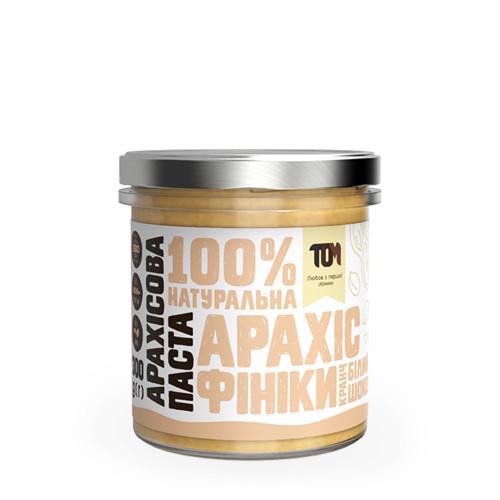 Арахісова паста кранч з білим шоколадом та фініками / 300 г