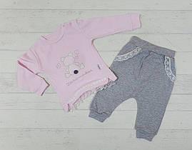 Костюм для новорожденных кофта и штаны 6,9,12 мес светло розовый