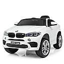 Детский электромобиль Джип JJ 2199 EBLR-1, BMW X6M, кожаное сиденье, колеса EVA, белый, фото 4