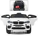 Детский электромобиль Джип JJ 2199 EBLR-1, BMW X6M, кожаное сиденье, колеса EVA, белый, фото 6