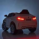 Детский электромобиль Джип JJ 2199 EBLR-1, BMW X6M, кожаное сиденье, колеса EVA, белый, фото 8
