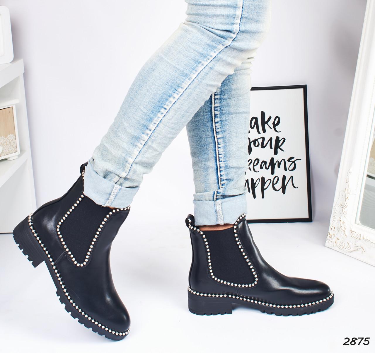 Женские ботинки демисезонные черные эко-кожа :)
