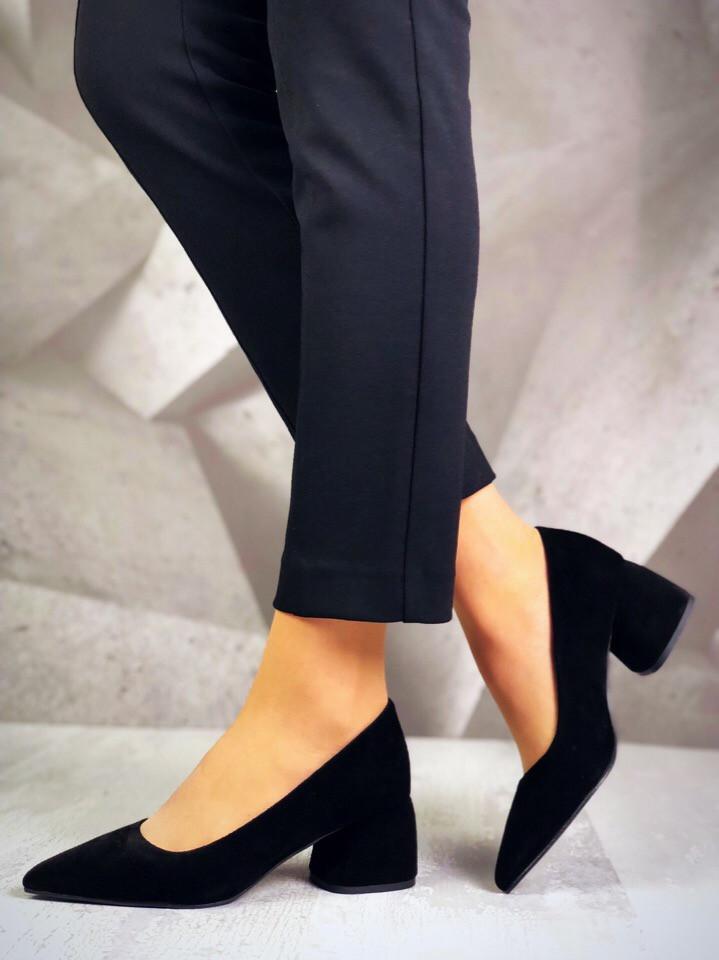 Женские туфли черного цвета, натуральная замша (в наличии и  под заказ 4-10 дней)