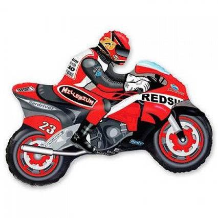 Фольгированный шар фигура Мотоциклист красный Flexmetal, 70*84 см (28')