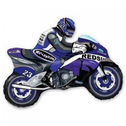 Фольгированный шар фигура Мотоциклист синий Flexmetal, 70*84 см (28')