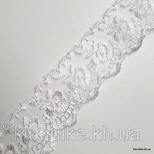 """Кружево органза """"Яблоко с вышивкой"""", Ширина: 4 см, Цвет: Белый (1 метр)"""