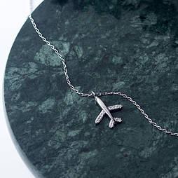 """Серебряная подвеска с самолетом """"Путешествие"""""""