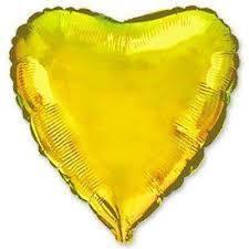 Куля фольгований серце золото металік 45 см , Flexmetal Іспанія