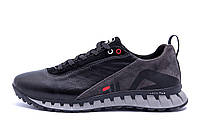 Мужские кожаные кроссовки FILA Tech Flex Black (реплика), фото 1