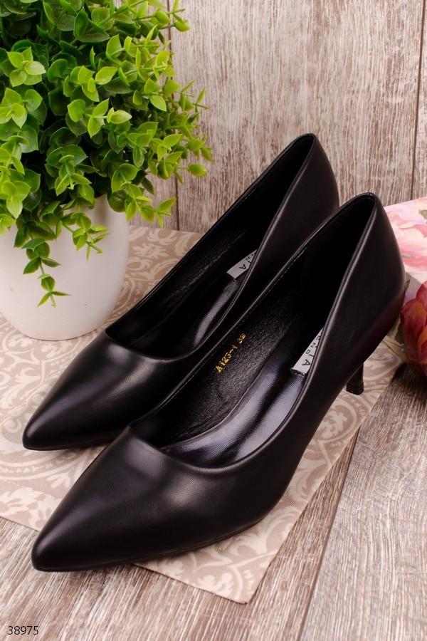 Туфли лодочки женские черные на каблуке 6 см эко кожа