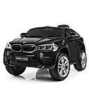 Детский электромобиль Джип JJ 2199 EBLR-2, BMW X6M, кожаное сиденье, колеса EVA, черный, фото 4