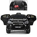 Детский электромобиль Джип JJ 2199 EBLR-2, BMW X6M, кожаное сиденье, колеса EVA, черный, фото 6