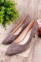 Туфли женские бежевые- кофейные эко замша каблук 6 см