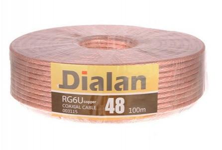 Dialan   RG6U 48W CCS 1,02 мм  прозрачный желтый экран Экранирование 48% 75 Ом 100м (6шт в ящ)