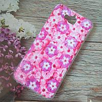 Чехол для huawei y6 pro tit-02 силиконовый flowers purple
