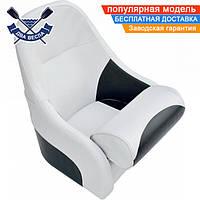 Кресло сиденье AquaLand FlipUp для лодки яхты катера 60х50х40(30-50)см, крепежная пластина, бело-черное, винил