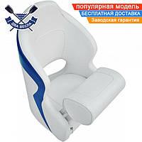 Кресло сиденье AquaLand Flip Up для лодки яхты катера 60х50х40(30-50)см, крепежная пластина, серо-синее, винил