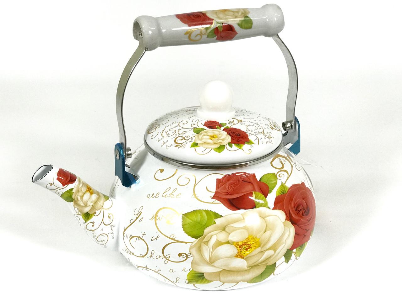 Эмалированный чайник Hoffner 4934 Rose flowers 2,5 литра c керамической ручкой