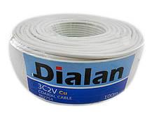 Dialan 3С2V Cu 0.5мм (экран 48*0.1мм Cu) бел 75 Ом 100 м (4шт в ящ)