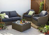 Набор садовой мебели из ротанга Borneo 4 Piece Conversation Sofa Set - Light Brown & Charcoal, фото 1