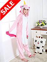 Пижама кигуруми Единорог розовый плюшевый с молнией S, M, L, XL