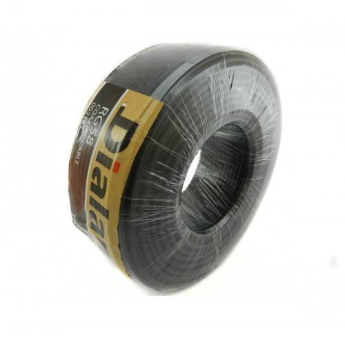 Dialan RG58 CCA чёрный 0,8 мм (жёлтый экран ) 50 Ом 100м (4шт в ящ)