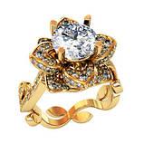Кольцо  женское серебряное Цветок Люкс 2, фото 4