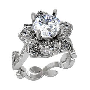 Кольцо  женское серебряное Цветок Люкс 2