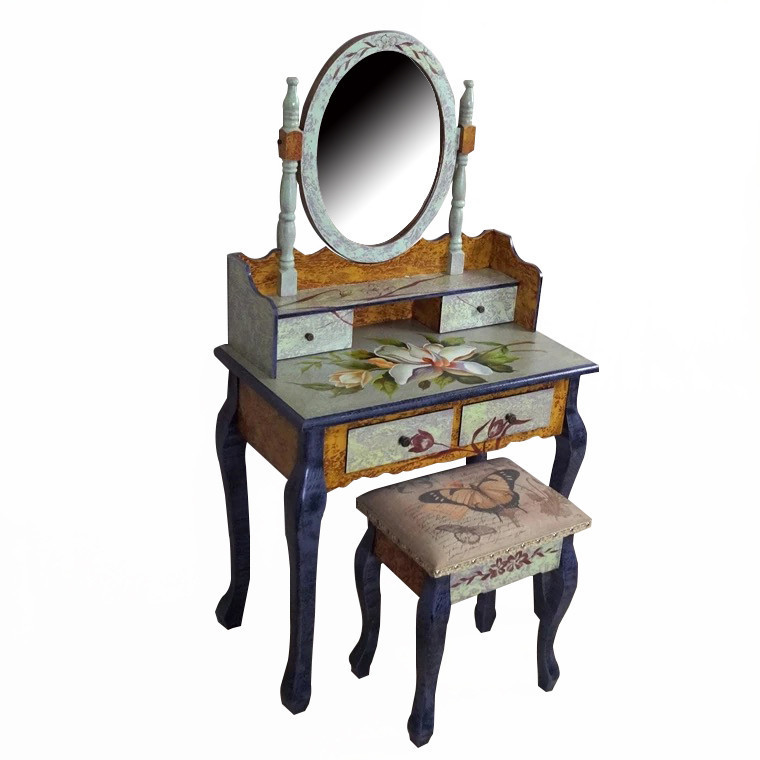 Туалетный столик коричневый + табурет