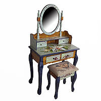 Туалетный столик коричневый + табурет, фото 1