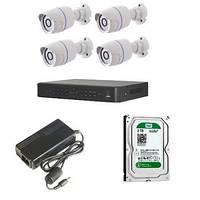 Full HD система видеонаблюдения для склада или дома высокого разрешения (4 камеры)
