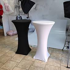 """Стрейч чохол на стіл """"Віктор"""" 60/110 Білий з щільної тканини Спандекс, фото 3"""