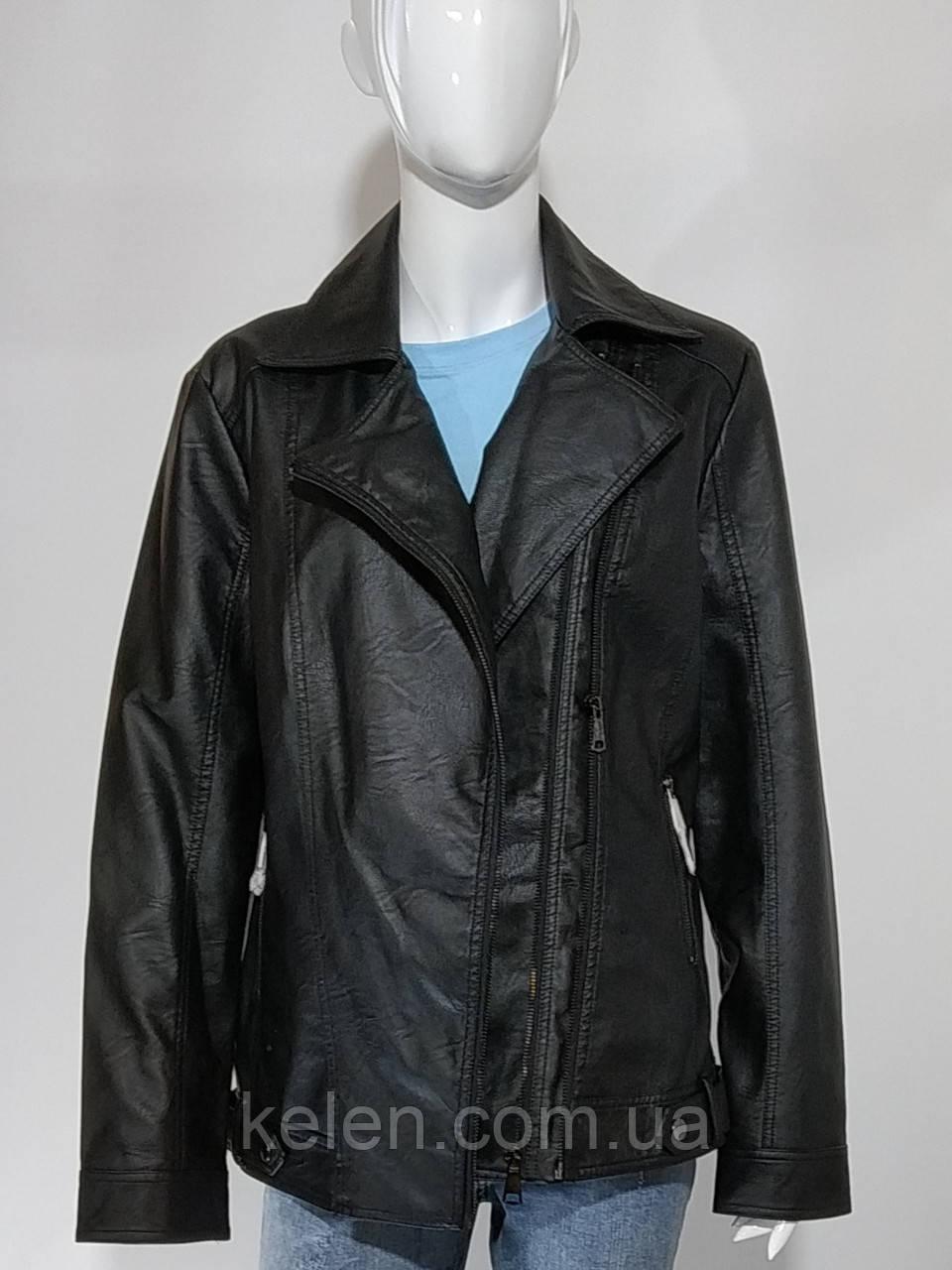 Куртка-косуха черная батальная  размеры 52-60