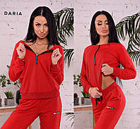 Спортивный костюм женский красный, чёрный, фото 1