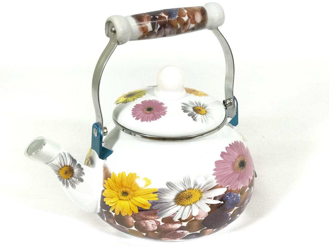 Эмалированный чайник Hoffner 4934 Field flowers 2,5 литра c керамической ручкой