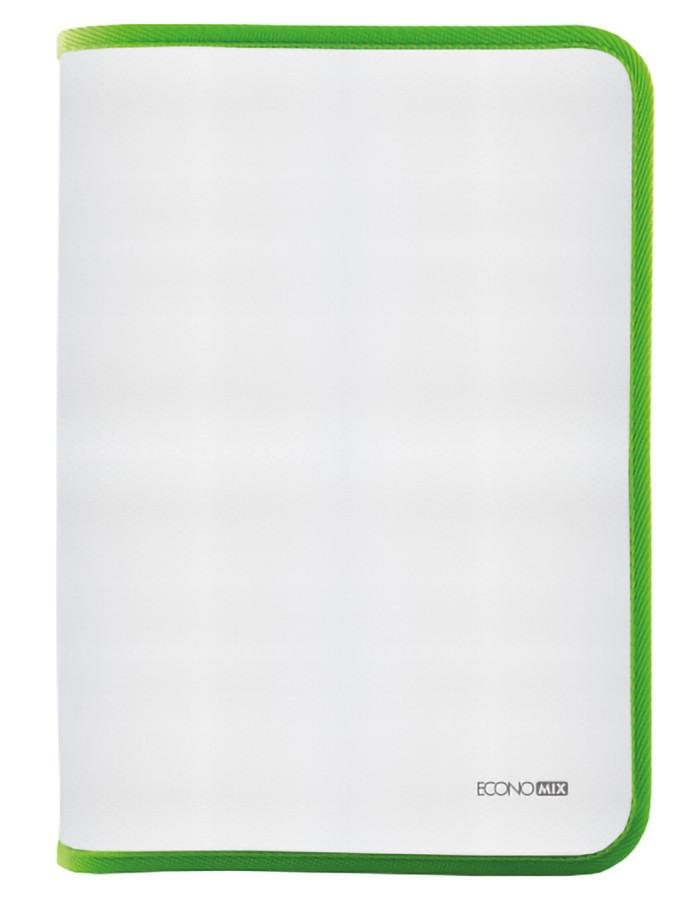 Папка-пенал пластикова на блискавці Economix А4 прозора фактура тканина голубаясалатная E31644-13