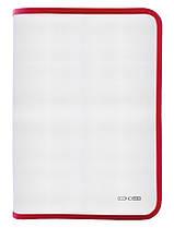 Папка-пенал пластиковая на змейке Economix A4 прозрачный,фактура ткань красная E31644-03
