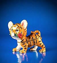 Шкатулка в виде тигренка с розочкой со стразами и цветной эмалью