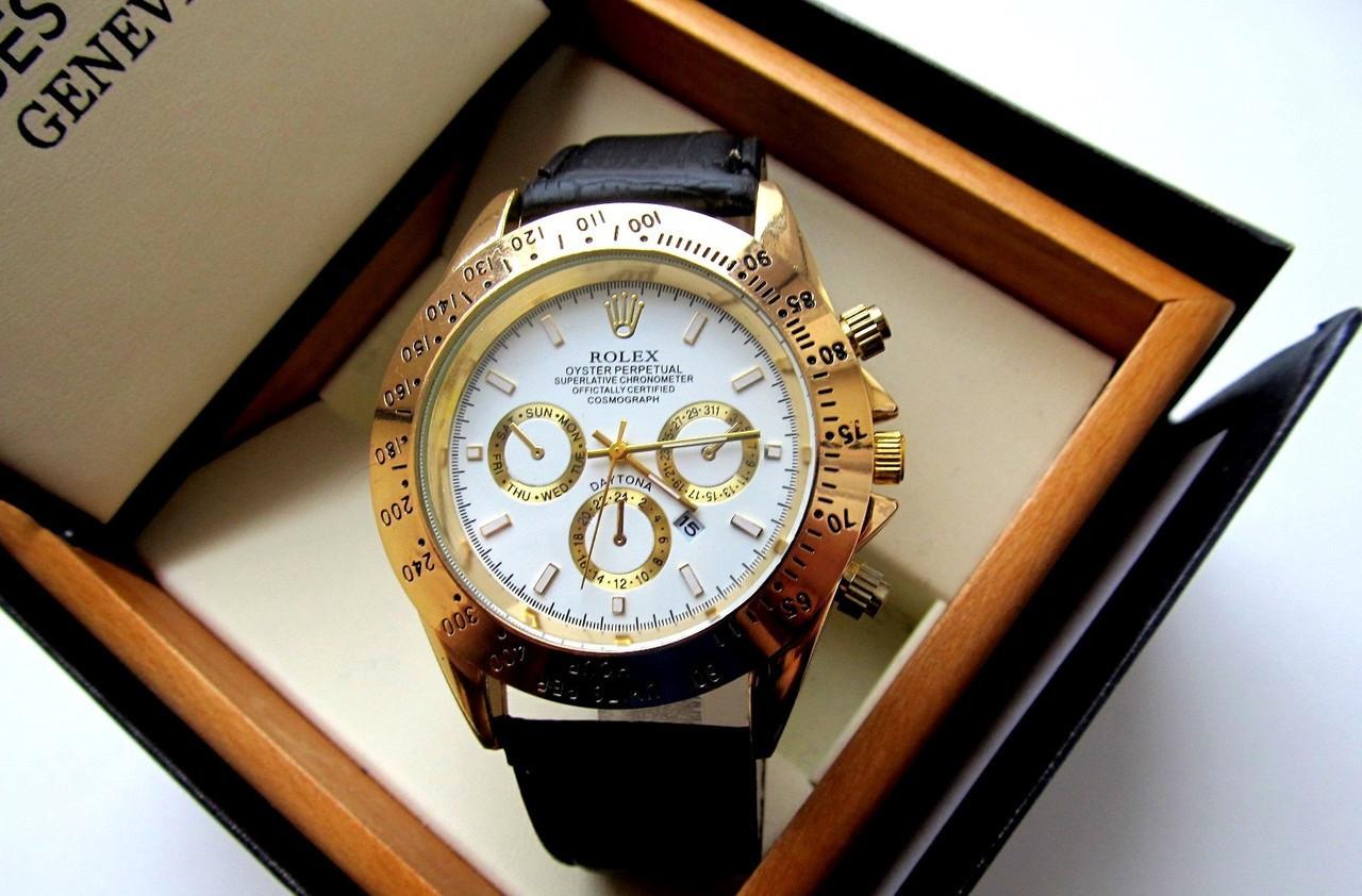 17432b21ff4e Мужские наручные часы Rolex Daytona белый циферблат с золотом, часы физрука