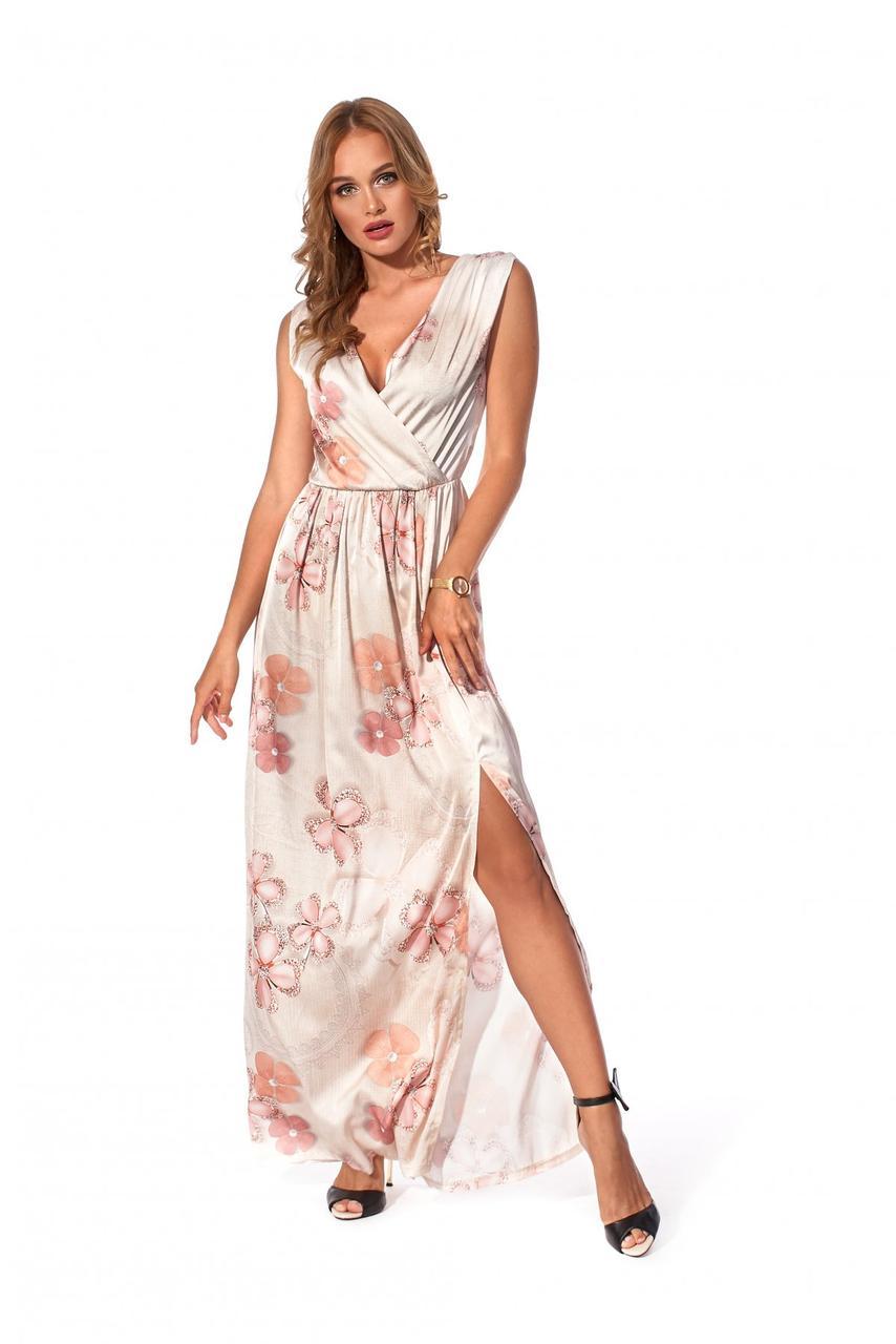 Длинное женское платье с цветочным принтом персиковое