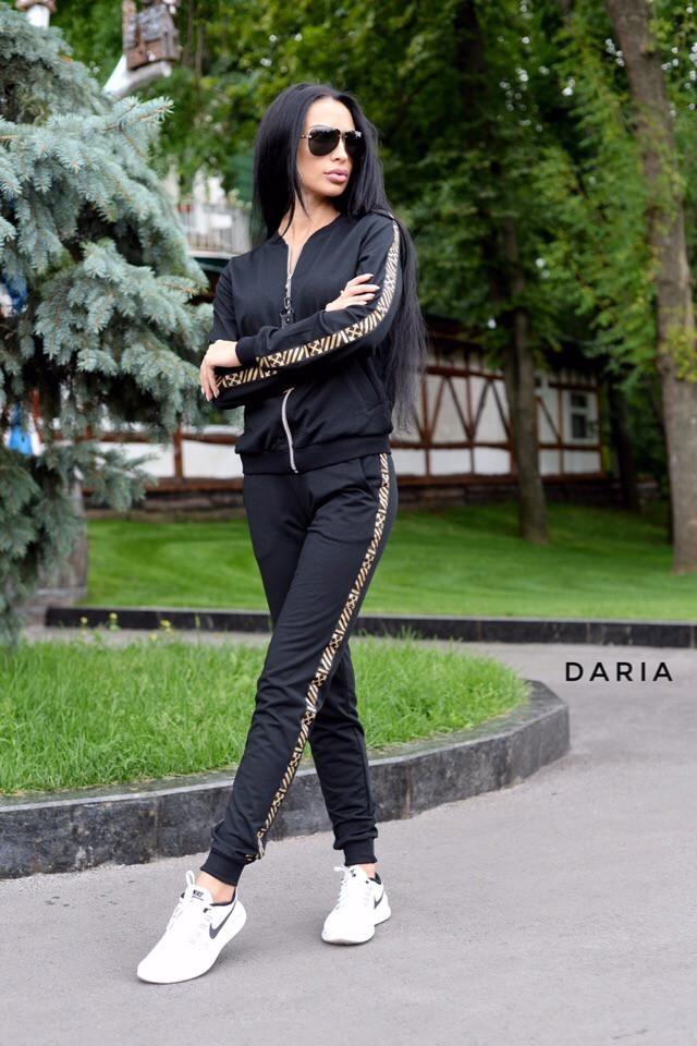 картинка черный спортивный костюм на молнии 42-48 р