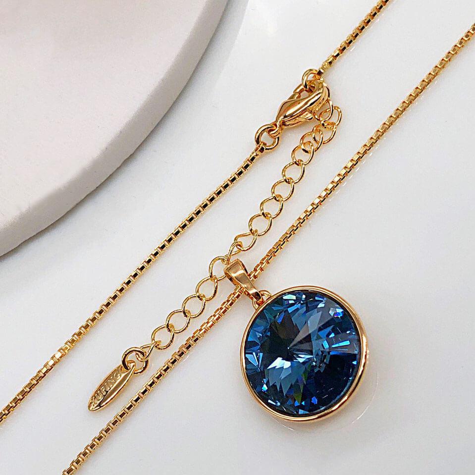 Кулон с цепочкой SWAROVSKI  39/44 см Темно синий, медицинское золото, позолота 18К. А/В 3847