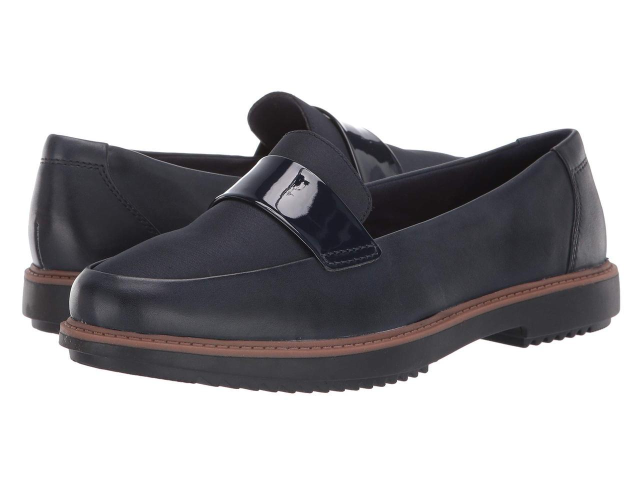 Мокасины (Оригинал) Clarks Raisie Arlie Navy Leather/Textile Combi