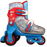 Детские роликовые коньки регулируемые NIJDAM 27-30 три колеса, фото 1