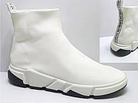 Женские кроссовки с трикотажным верхом без шнуровки, белые