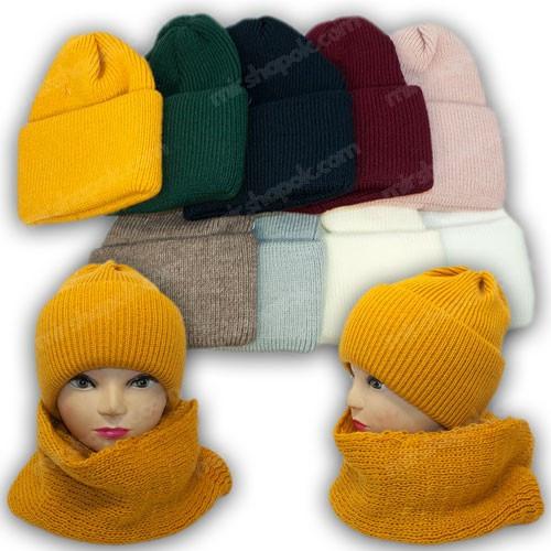 ОПТ Комплект шапка и хомут для девочки, р. 52-54 (5шт/набор)